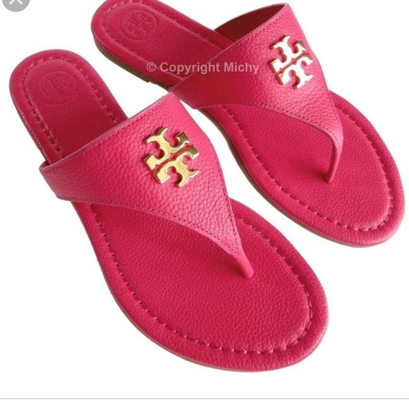 254da5000 Tory Burch Laura Flat Thong Sandals- Pink